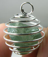 Russia Rare 100% Natural Blue Apatite Crystal Specimen in Spiral Cage Pendant