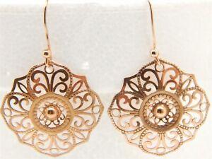 Vintage 14k Rose Gold Filigree Round Dangle Earrrings