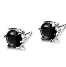Classic Lady Black Round Swarovski Crystal 18K White Gold Filled Stud Earring