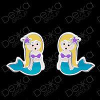 Genuine 925 Sterling Silver Mermaid Stud Earrings  Mini Studs Girls Children