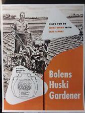 Bolens Huski Gardener Tractor Seeder Till Plow Color Sales Brochure Manual 1948