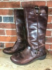 UGG s/n 1003335 Brown Leather Boots Size 6 Partial Zipper Buckle Top Size 6