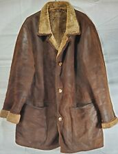 Hide Society Men's Shearling Sheepskin Leather Coat Jacket size 44