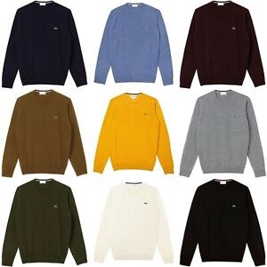 Lacoste Jumper - Lacoste Wool Crew Neck Knit - AH0841 - Navy/Grey/Burgundy/Black