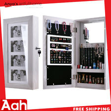 Wall Mounted Jewelry Storage Cabinet Mirrored Armoire Makeup Organizer Wood Box