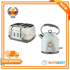 Tower Stainless Steel 1.7 L Boil Kettle & 4 Slice Toaster In Rose Gold & Marble