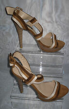 TOP OR WOMENS Brown Ankle Strap Textile Very High Heel Sandals Size:4/37(WHS102)