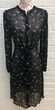 Monsoon Black Chiffon Shirt Dress Size 8 Star Print Summer Fit Flare