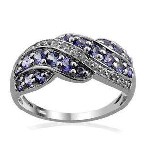 Natural Tanzanite White Topaz Rarities Cluster wave Sterling Silver Ring