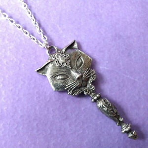 ew Alchemy Gothic Pewter Sacred Cat Vanitas Mirror Pendant Necklace P889