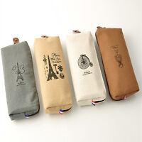 Retro Paris Canvas Pencil Pen Case Cosmetic Makeup Coin Pouch Zipper Bag Purse J