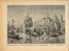 Stampa antica INDUISMO INDIA Festa di Ganesha o Ganesh 1888 Old antique print
