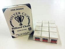 Quality USA Silver Cup Pool Snooker Billiard Cue Tip Table Chalk WHITE 12 Blocks