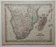 VINTAGE COLTON MAP - SOUTHERN AFRICA - HAND COLOR - CA 1870 - MADAGASCAR