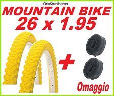 2 x Neumático 26 x 1.95 AMARILLO bici MOUNTAIN BIKE + 2 x CÁMARA DE AIRE REGALO