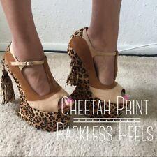 Women's Brown and Nude Leopard Heelless T Bone Strap Heels with Tassel Size 7