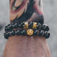 Men Lion Head Crown Bracelets 8mm Beads Cuff Charm Bangle Bracelet Jewelry CA