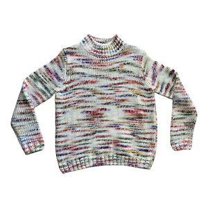 PAPAYA Cream Rainbow Multicolour Stripe Chunky Knit High Neck Jumper Medium M