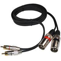 Dual XLR Male to Dual RCA Male Phono Plug Twin Lead / Audio Signal Patch Cable