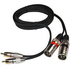 Dual XLR Male to Dual RCA Male Phono Plug Twin Lead / Audio Signal Patch Cable
