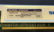 1 GB 2 x 512 MB Super Talent DDR 400 512 MB PC3200 CL3 RAM D32PA12H