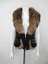 Roberto Cavalli Size 42 UK 10 Fur Trim Woven Animal Print Gilet Jacket
