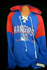 Men's  NHL New York Rangers Lace up Hooded Pullover Sweatshirt Sz Large