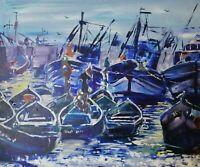 "ORIGINAL Painting Marilyn Allis SIGNED ART INVESTMENT  Essouira Morocco 24"" x 20"