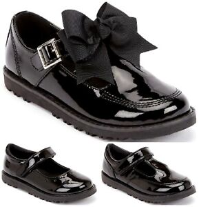 KIDS GIRLS FLAT BLACK BACK TO SCHOOL LOAFERS DOLLY T-BAR BOW STRAP BUCKLE SHOES