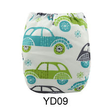 ALVA Baby Cloth Diaper OneSize Reusable Washable  Nappy Car print +1Insert YD09