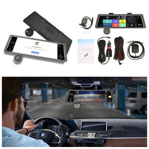 """4G 10"""" IPS GPS Dual Lens Android 5.1 Car Rearview Mirror DVR Recorder Camera Kit"""