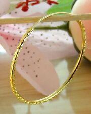 "222K THAI BAHT DP YELLOW GOLD ~ 1.5"" DIAMOND CUT ETERNITY ENDLESS HOOP EARRINGS"