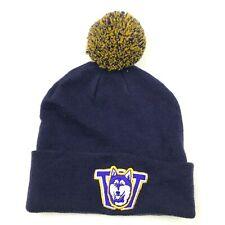VINTAGE Zephyr Beanie Hat Cap Pompom Stretch Fit Blue Yellow Knit One Size Adult