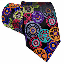 LAWRENCE IVEY, VIBRANT HANDMADE MULTICOLOUR 'CONCENTRIC CIRCLES' TIE FREEPOST