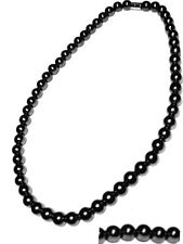 Men's magnetic hematite necklace black ball round 18""