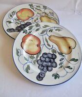2 pcs Tabletops Unlimited Frutteto Dinner Plates Handpainted Fruit Blue Trim