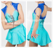 Blue Ice Figure Skating Dresses Custom Women Competition Skating Dress Girls