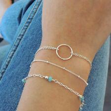 3 Couches Bracelet Argenté Femmes en Forme de Cercle Géométrique Bijouterie Mode
