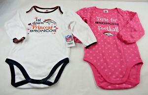 Gerber Childrenswear 2 Pack Long Sleeve Bodysuit Girls 18 M Broncos NEW