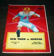 "1951 HIGH SCHOOL FOOTBALL PROGRAM ""NEW TRIER vs. MORTON""   9-29-51 FREE SHIPPING"