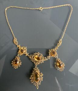 Antique Gold Topaz Victorian Festoon Necklace lavaliere