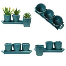 Ceramic Pot Set of 3 Country Rustic Turquoise Planters Flower Decor Garden New