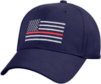 Navy Blue Thin Red Line US Flag Support Firefighters Low Profile Baseball Cap