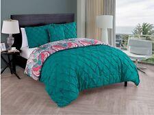Bedding Queen Cute Comforter Set Teen Girls Pintucked Reversible Turquoise Green