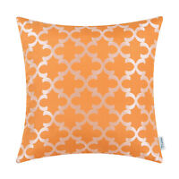 CaliTime Cushion Cover Pillows Shell Embroidered Quatrefoil Accent GEO Sofa 45cm