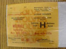 06/11/1976 Ticket: Wolverhampton Wanderers v Millwall [Football League Cup] (Com