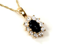 "9ct Gold Black Onyx and CZ Pendant necklace and 18"" Chain Made in UK Gift Boxed"