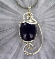 Amethyst Gemstone Pendant Necklace in Sterling Silver  Wire Wrapped
