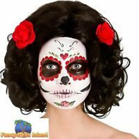 Day of the Dead Senorita Black Curly Wig Adult Womens Fancy Dress Costume