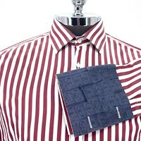 Archive Ted Baker Button Dress Shirt Red Maroon White French Cuff Mens Size 16